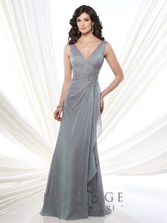Montage By Mon Cheri 215907 - Sleeveless two-tone chiffon slim A-line gown with V-neckline, crisscross pleated bodice with hand-beaded lace appliqué, V-back, side draped skirt with ruffle, sweep train. Wrap Wedding Dress, Wedding Dress Pictures, Mother Of The Bride Dresses Long, Mothers Dresses, Mon Cheri, Vestidos Mob, Discount Designer Wedding Dresses, Mob Dresses, Pageant Gowns