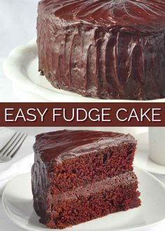 Easy Chocolate Fudge Cake with Easy Fudge Frosting. A back to basics, old fashioned, easy recipe for chocolate lovers everywhere! Perfect for birthdays or just for Sunday dinner. I'm making it this week for Father's Day day dinner reci Easy Chocolate Fudge Cake, Easy Fudge, Homemade Chocolate, Chocolate Desserts, Chocolate Lovers, Chocolate Chips, Recipes For Chocolate Cake, Chocolate Birthday Cakes, Chocolate Cake From Scratch