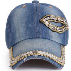 ililily Vintage Washed Denim Lips Shaped Rhinestone Embellished Hat... (145 NOK) ❤ liked on Polyvore featuring accessories, hats, baseball cap, denim hat, baseball caps hats, denim baseball hat and baseball hats
