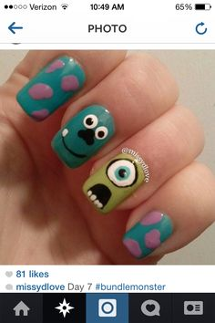 Monsters Inc. Crazy Nail Art, Crazy Nails, Cute Nail Art, Cute Nails, Disney Inspired Nails, Disney Nails, Nail Art Designs Videos, Nail Designs, Monster Inc Nails