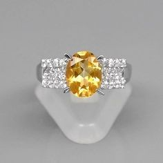 9x7mm Natural Medium Yellow Citrine Ring With Topaz in 925 Silver #30705 #Multajewelry #SolitairewithAccents