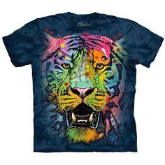 Dean RUSSO TIGER FACE T-Shirt Rainbow Animal Art Graphic Mountain Tee Mens S-5XL #TheMountain #GraphicTee #tigerface #rainbow #tigershirt