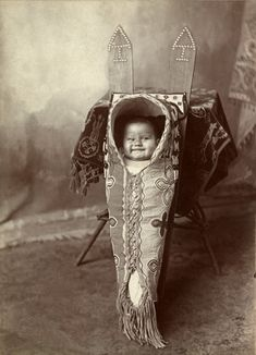 :::::::: Antique Photograph :::::::: Young Louise Smoky, a Kiowa, in a cradle board. Photograph from the collection of Charles H. Stephens ~ Penn Museum.