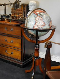 globe - library globe - globe on stand   #globe #officedecor