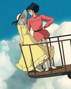 Howl's Moving Castle, Studio Ghibli Art, Studio Ghibli Movies, Hayao Miyazaki, Howl And Sophie, Anime Lindo, Dibujos Cute, Anime Films, Anime Scenery