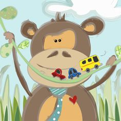 Adorable monkey boy plays with his toy cars. nursery & kids canvas art perfect for little boys rooms, little girls room, neutral nursery and monkey lovers.