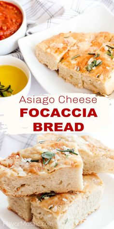Asiago Cheese Focaccia Bread is an Italian bread topped with fresh herbs that can be used in a focaccia sandwich, pizza, or served with marinara or with a soup or salad. Best Bread Recipe, Bread Recipes, Biscuit Recipe, Dough Recipe, Cheesy Garlic Bread, Cranberry Bread, Asiago Cheese, Healthy Banana Bread, Italian Bread