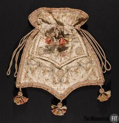 Reticule made from an 18th century man's waistcoat, silk embroidered with silk, c. 1800, French. Museum at FIT accession no. 93.132.2