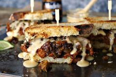 Chipotle Lime Brisket Sandwich with Sauteed Brussels Sprouts and Modelo Cheese Sauce