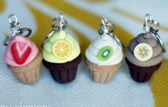 Fruity Cupcake Stitch Markers Plate of 4 by weeones on Etsy, $16.00