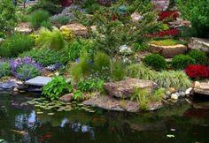 Rock Garden near water. Famous Gardens, Amazing Gardens, Beautiful Gardens, Shade Garden Plants, Pond Waterfall, Backyard Water Feature, Front Yard Landscaping, Landscaping Ideas, Garden Photos