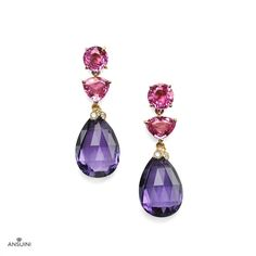 Ansuini Gioielli Roma - Hyderbad Earrings 2.600 €- Hyderbad Earrings recall the opulence of Indian palaces, with its pink Sapphires and briolette Amethysts. Handmade in Gold 18 K with Amethysts, pink Sapphires and Diamonds -