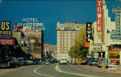 View of Virginia Street and Downtown Reno, circa 1950s, with the historic (and since demolished) Mapes Hotel in the middle