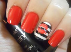 Jailhouse Rock Manicure #manicure #pedicure #fingernail #finger #nail #polish #lacquer #paint #red #black #white #stripe #jail #rock