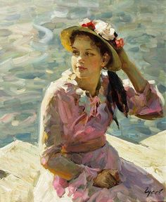 Vladimir Gusev: title unknown [girl in hat and pink dress, water-side]. Oil on canvas.