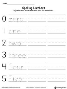 Practice spelling and writing number words 0-5 in this 1st grade math printable worksheet.