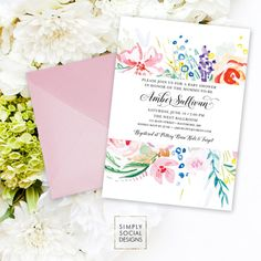 Floral Baby Shower Invitation - Flowers Multi Color Modern Calligraphy Boho Flowers Watercolor Rainbow It's a Girl Printable Party Invite