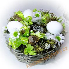 Velikonoční a jarní | Velikonoční věnec nebo košík.. na stůl v zelenkavé | Kouzelné kytičky