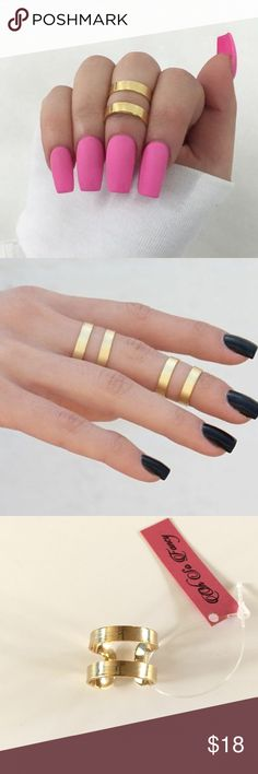 Gold Cutout Ring Gold cutout ring. Can be worn as a knuckle ring on any finger. Slightly adjustable. Pair this ring with other rings or wear alone.   *Listing is for 1 ring* Oh So Fancy Jewelry Rings