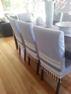Blue and white chairs                                                                                                                                                                                 Covers may be made from Turkish Peshtemal Towel, Pestemal Towel, DII Peshtemal, Fanta, Hammam