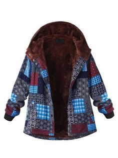 O-NEWE Casual Block Printing Hooded Fleece Thick Coat For Women - Newchic Plus Size Outerwear Mobile. Plus Size Outerwear, Plus Size Coats, Outerwear Women, Winter Coats Women, Coats For Women, Jackets For Women, Winter Outfits, Long Trench Coat, Indie Fashion