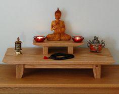 11X24 Oak meditation Altar with a Pedestal by theyankeewoodsmith