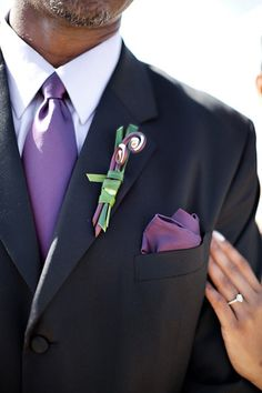 A sophisticated take on a boutonniere    Purple Wedding Inspiration - Jasmine & Reginald - The Bride's Cafe