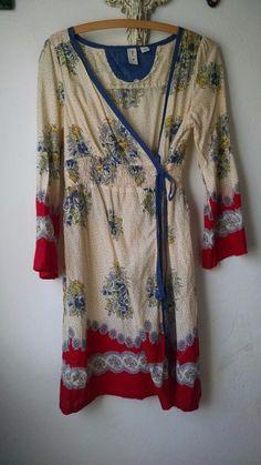 Anthropologie Eloise Kimono Wrap Dress S Blue Yellow Red Floral Sheer Cotton #Eloise #Casual