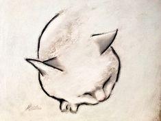 "Saatchi Online Artist Kellas Campbell; Drawing, ""Sleeping Cat in Black and White"" #art"