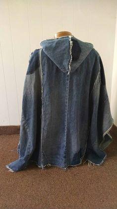Hooded recycled denim poncho unisex ecofriendly by DianeSladeInc