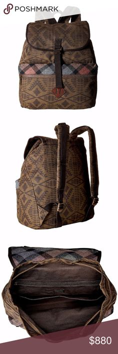 PENDLETON Backpack Patterned Book Bag Travel Tote Brand New With Tags.  • Versatile unisex backpack featuring durable waxed cotton fabric & unique spacious design. • Fold-over flap at top with hook fastener & leather-accented cinched drawstring. • Self-lined interior is brown in color with 1 zipper pocket & 2 slip pockets. • Exterior zipper pocket with multicolor wool plaid trim. • Adjustable padded straps. • Top carrying handle.  # Boho Luggage Fall  • Same-Business-Day Shipping (10am CT)…