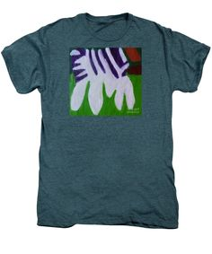 Patrick Francis Premium Steel Blue Heather Designer T-Shirt featuring the painting Zebra 2014 by Patrick Francis