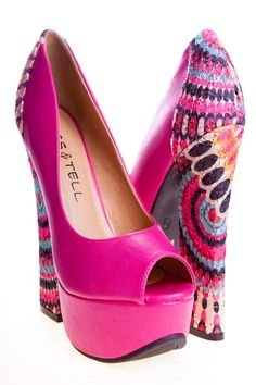 PINK FAUX LEATHER PEEP TOE PUMP HEEL