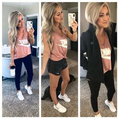 Sized up two sizes for an oversized fit! // Leggings are a MUST and not see trough- true to size (xs) // Shoes are a favorite and very comfy! // Jacket is true to size (XS) Cute Comfy Outfits, Sporty Outfits, Athletic Outfits, New Outfits, Spring Outfits, Fashion Outfits, Young Mom Outfits, Athletic Clothes, Athletic Wear