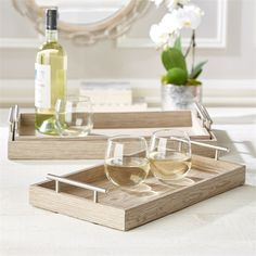 Twos Company Two's Company Manchester Set of 3 Wood Veneer Nested Decorative with Brushed Silver Handle Trays Assorted 3 Colors - Pickled Oak, Chestnut, Black Walnut Bed & Breakfast, Two's Company, Jewelry Tray, Wood Tray, Food Service, Tray Decor, Wooden Tables, Serveware, Wood Veneer