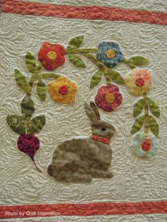 close up, Baltimore Bunnies by Fleda Gorbea, quilted by Ann Skitt.  2014 AZQG, photo by Quilt Inspiration