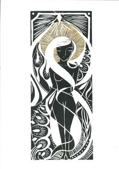 'Danielle in Gold'  Limited Edition 1/10  Lino Print with Hand Colouring