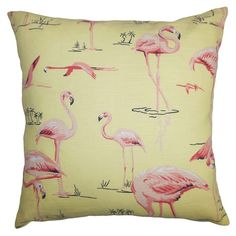 Cotton-linen+pillow+with+a+flamingo+motif.+Made+in+the+USA.+ Product:+PillowConstruction+Material:+Cotton+linen+...