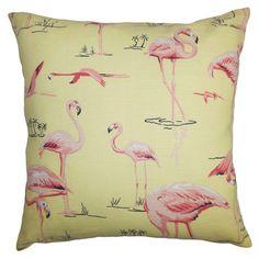 Flamingo Pillow in Yellow