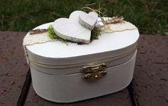 Ringkissen Ringbox Ringhalter oval Holz weiß natur für Eheringe Hochzeit