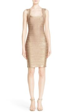 Herve Leger Woodgrain Metallic Foil Dress $773.98  #TopSale #classic #WomensClothing