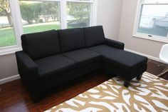 Large Black Cloth Modern Contemporary Upholstered Quality Left or Right Adjustable Sectional. Adjustable LEFT OR RIGHT Chaise. Easy to Clean Linen Sectional Sofa. Brand New. Modern Couch, Living Room Modern, Living Room Sofa, Shabby Chic Furniture, Bedroom Furniture, Fabric Sectional, Sectional Sofas, Black Sectional, Silver Bedroom