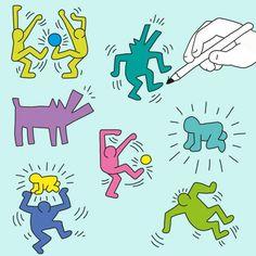 Gruppenbild nach Keith Haring - ein tolles Projekt für den Kunst Unterricht Keith Haring Prints, Keith Haring Art, Keith Allen, Kindergarten Art Lessons, 3rd Grade Art, School Displays, Arts Integration, Middle School Art, Art Plastique