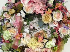 Love this!! Victorian Pretty in Pink handmade door wreath....Shabby Chic, French Country, Cottage ...so Romantic!