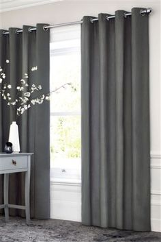 Charcoal Cotton Blackout Eyelet Curtains