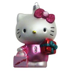 Kurt Adler Hello Kitty Glass Ornament, 4.75-Inch -- Discover this special product, click the image : Christmas Decorations