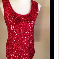❤️Red Sequined Tank Top Fun and festive sequined tank. LOFT Tops Tank Tops
