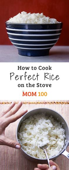How to Cook Perfect Rice on the Stove / This is it—the foolproof recipe for making perfect rice on the stove. All it takes to know How to Cook Perfect Rice on the Stove - finally get over your rice fear and get fluffy, non-sticky white rice every time. Cook Rice On Stove, Stove Top Rice, Rice On The Stove, How To Cook Rice, Food To Make, The Rice, Easy Cook Rice, Rice In The Microwave, Cooking Quotes