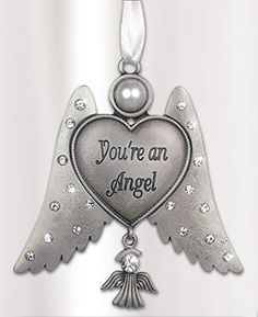 Jeweled Angel Hanging Ornament - You're an Angel - with Angel Charm Pewter Metal 3 Inch Banberry Designs http://www.amazon.com/dp/B00M0YQHHY/ref=cm_sw_r_pi_dp_Zss0tb1WAJCHEC79