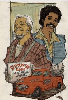 Cool artwork drawing of Sanford and Son Fred Sanford and Lamont Sanford - Redd Foxx and Demond Wilson. Dope Cartoons, Dope Cartoon Art, Girl Cartoon, Redd Foxx, Sanford And Son, Black Love Art, Black Tv, Black Cartoon Characters, Black Comics
